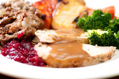 Holiday turkey dinner. Holiday feast turkey dinner with cranberry sauce, roasted vegetables and brussels sprouts Stock Photography