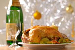 Holiday turkey served with vegetables Royalty Free Stock Images
