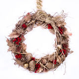 Holiday Twig Wreath with Raffia Royalty Free Stock Images
