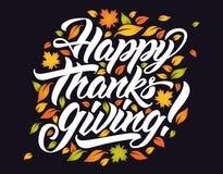 Happy Thanksgivingб autumn leave lettering. stock illustration