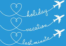 Holiday, vacation, flying, vector set. Holiday, vacation, last minute flying, vector set vector illustration