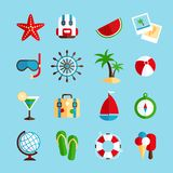Holiday vacation icons set Stock Photography
