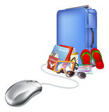 Holiday vacation online shopping. Holiday vacation online internet shopping illustration, of a computer mouse connected to lots of tropical holiday items Stock Image