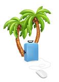 Holiday vacation suitcase mouse concept. Palm tree with suitcase. Vector illustration Royalty Free Stock Photo