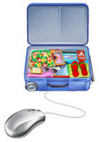 Holiday vacation suitcase mouse concept. Shopping online for the perfect holiday vacation package Royalty Free Stock Images
