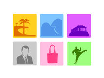 Holiday vacation types icons vector Royalty Free Stock Images