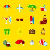 Holiday and vacation vector icons. A selection of summer holiday and vacation icons Stock Photo