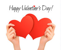 Holiday valentine background with hands holding two red hearts. Royalty Free Stock Image