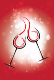 Holiday vector background with two glasses of wine, the stars. And red & white background Royalty Free Stock Photography
