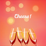 Holiday vector template with group of champagne glasses making a. Toast to the cheers. Cheers glasses. EPS 10 file royalty free illustration