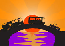 Holiday Vehicles Stone bridge. A holiday vehicle convoy on a stone bridge with an ocean sunset background Stock Image