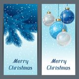 Holiday vertical banners template with christmas. Holiday vertical  card template with christmas balls Stock Image