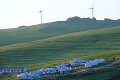 Holiday village. The morning scenery of Huitengxile Grassland in Inner Mongolia Autonomous Region in China Royalty Free Stock Images