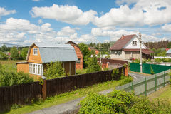 Holiday village. The Moscow region housing estate in the middle of the summer season Royalty Free Stock Photo