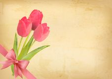 Holiday vintage background with pink flowers Stock Photo