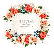 Holiday vintage greeting card with a beautiful roses Royalty Free Stock Images