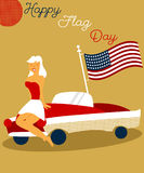 Holiday vintage poster with pin up girl, cadillac and american flag for Flag Day USA Stock Image