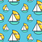 Holiday voyage pattern. Summer water trip  wallpaper. Vacation sail boat print. Small ship marine texture. Cruise decoration. Holiday voyage pattern. Summer Royalty Free Stock Photo