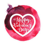 Holiday watercolor card with red heart for Valentines day. Royalty Free Stock Image