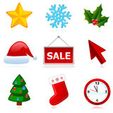 Holiday web Christmas icons. Stock Photos