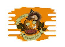 Thanksgiving Day pumpkin and pie royalty free illustration