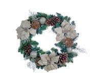 Holiday white Poinsettia Christmas wreath isolated on white back Royalty Free Stock Photos