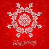 Holiday white snowflake on red background. Ornamental snowflake on red background.  Big holiday snowflake. Design for card, banner, invitation, leaflet and so Royalty Free Stock Photo