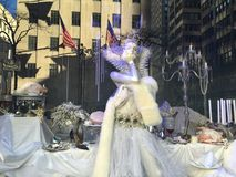 Holiday Window Displays at Saks Fifth Avenue in New York Stock Image