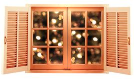 Holiday window in a wooden frame isolated Stock Images