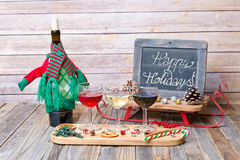 Holiday wine flight with chalkboard sign Royalty Free Stock Image