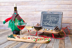 Holiday wine flight with chalkboard sign Royalty Free Stock Photos