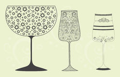 Holiday wine glasses with decorative pattern Royalty Free Stock Image
