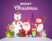 Holiday winter background. Christmas characters santa penguin white arctic bear character snow wildlife animals in. Cartoon style vector. Illustration of santa royalty free illustration