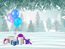 Holiday winter background with presents stock image