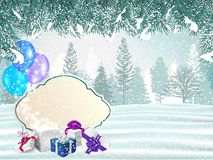 Holiday winter background with presents and magical gift box stock photography