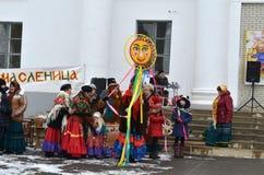 Holiday-winter farewell or Maslenitsa in Russia, Kamensk-Shakhtinskiy, Rostov region on 18 February 2018. stock photo