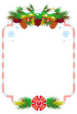 Holiday winter frame with pine branch, snow-flakes and cones. Royalty Free Stock Photography