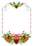 Holiday winter frame with pine branch, snow-flakes and cones. Stock Photos