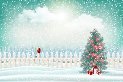 Holiday winter landscape background with Christmas tree stock photography