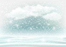 Holiday winter landscape background with snow and clouds stock image