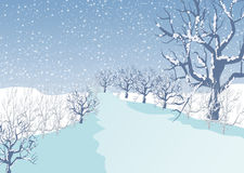 Holiday winter landscape background with tree Stock Photo
