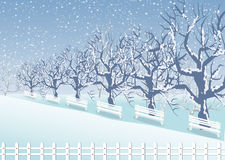 Holiday winter landscape background with tree Royalty Free Stock Photos