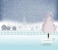 Holiday winter landscape background with tree Stock Image