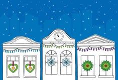 Holiday winter scene. An urban holiday winter scene stock illustration