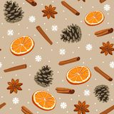 Holiday winter seamless pattern. Seamless pattern with cones, cinnamon, oranges and anise royalty free illustration