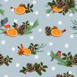 Holiday winter seamless pattern. Seamless pattern with winter plants and birds vector illustration