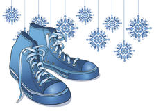 Holiday Winter Sneakers. Vector art in Illustrator 8. Cool ice blue winter high tops. Sneakers are INDIVIDUAL images and can be separated, used alone, moved Royalty Free Stock Photography