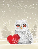 Holiday winter theme, white owl sitting in snow with red heart, illustration. Christmas theme, cute white owl sitting in snow with red heart, in front of winter Royalty Free Stock Photo