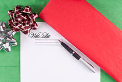 The Holiday Wish List. With Seasonal Colors Stock Images