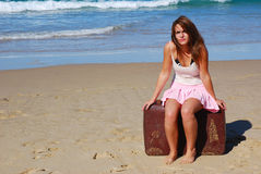 Holiday woman waiting Stock Photography